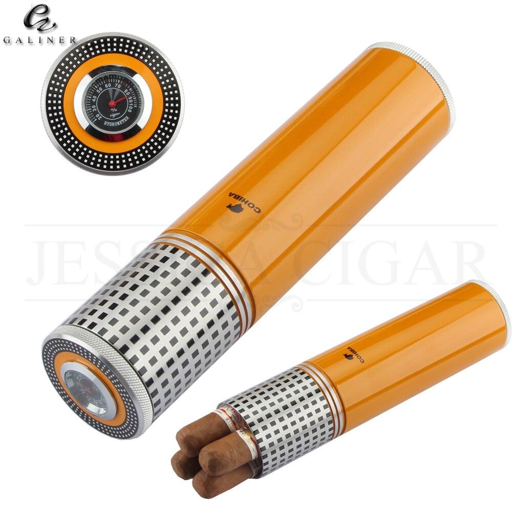 COHIBA Metal Cigar Tube Travel Humidor Box Portable 3 Tube Cigar Case W/ Hygrometer Humidifier Outdoor Cigars Humidor Jar