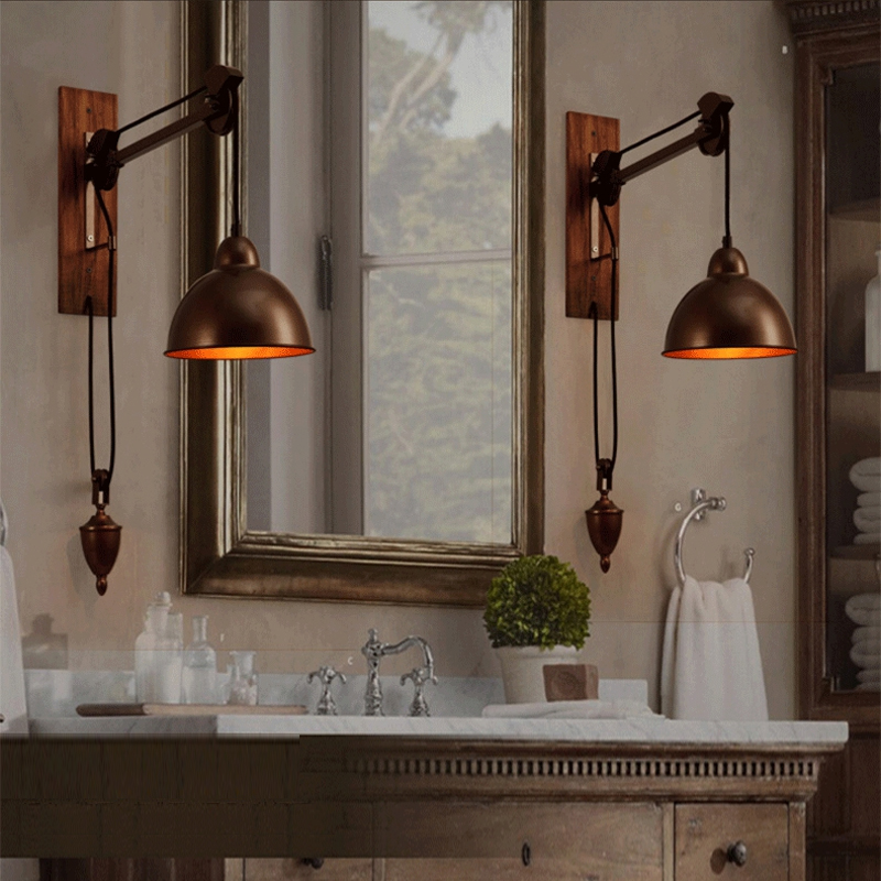 Bathroom Wall Lamps Vintage Industrial Lighting Coffee Shop Retro Wall Light Sconces Bar Rustic Spindle Pulley