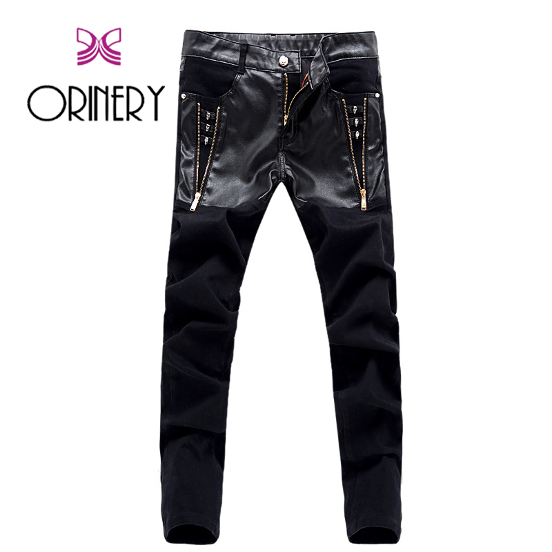 ФОТО ORINERY Hot Sale Punk Style Mens Jeans High Quality Leather Patchwork Zipper Jeans Fashion Brand Denim Trousers Skinny Pants
