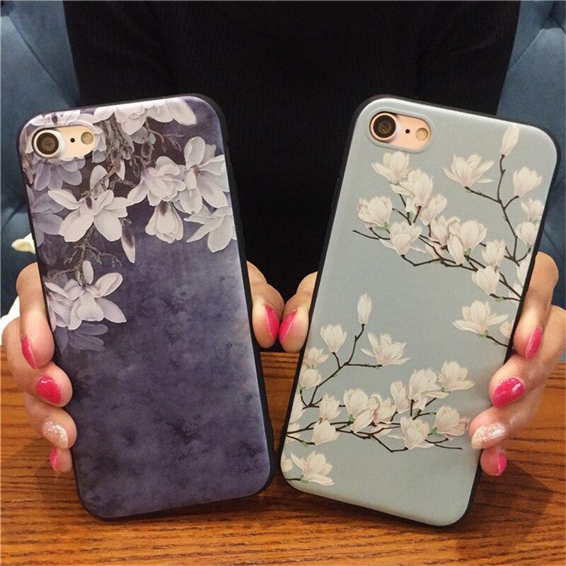 100 pièces Orchidée Fleur Bleue Silicone Corps Entier étui pour iphone 8 7 6 6 s X XS XR Étui souple coques de téléphone Couverture Arrière pour 7 Capa Coque