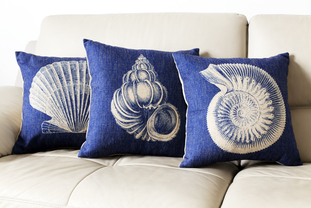 Nautical Pillow Cases Blue Coastal Beach Chic Linen Cushion Cover New Coastal Throw Pillow Covers