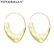 TOTASALLY Fashion  Metal Hoop Earrings for Woman Brand Design Matted Gold /Silver Color Hanging DropShipping Jewelry