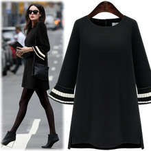 Flare sleeve black dresses woman Europe new round neck 3 qualters sleeve loose dresses fashion Women's large size dress 2017
