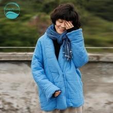 LinenAll women's winter short parkas, light blue V-neck 100% cotton, silk padding warm outerwear parkas female wuyou