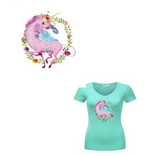 Unicorns Ironing Heat Transfer Clothes Patches Flower Unicorn Iron On Patch Stickers for T-shirt Coat Jeans