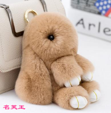 13cm Kawaii Fluffy Bunny Plush Toy Anime Fur Rex Rabbit Pendant Keychain Decoration Hanging For Car Bags Toys For Girls Gift