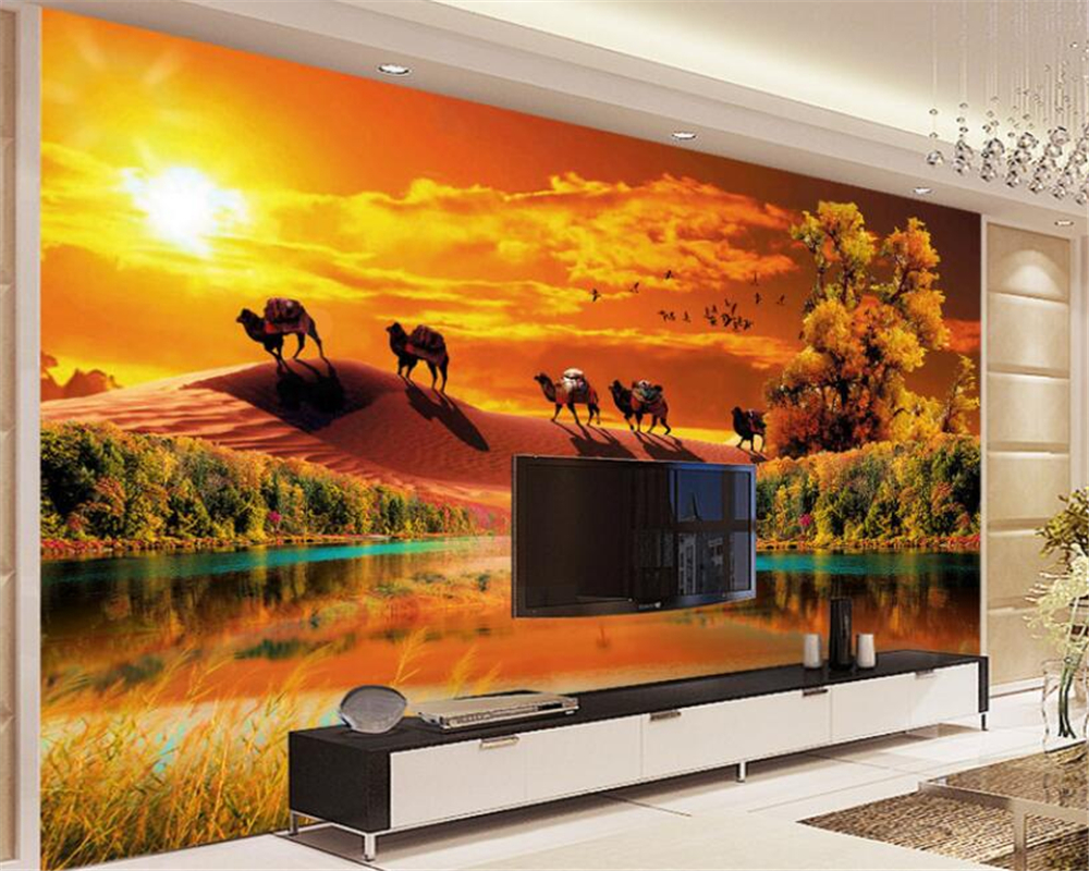 wallpaper room ideas promotion shop for promotional wallpaper room beibehang 3d wallpaper aesthetic atmosphere desert greenwood autumn ideas living room tv background wall mural papel de parede