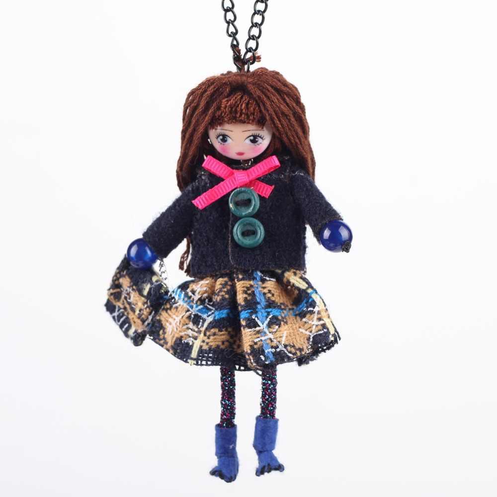 Bonsny Кукольное ожерелье ручной работы Французская ткань Длинная подвеска 2015 новые зимние модные ювелирные изделия для женщин аксессуары