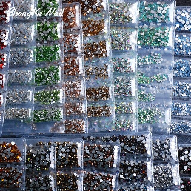 Hisenlee Super Glitter Rhinestones 17Colors ss3-ss10 Non HotFix FlatBack  Glass Nail Art Rhinestones Nail Scrapbook Decorations 1e31a4a4a09c