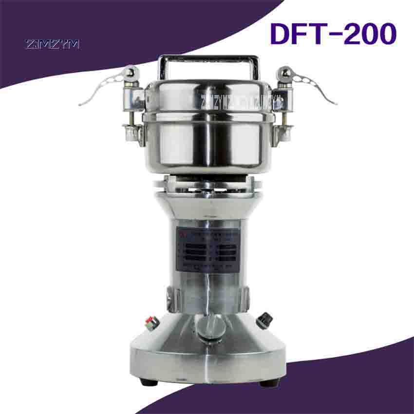 DFT-200 Electric Herbal Grinder Portable Household Medicine Powder Machine 200g 220v/110v 400W 30-200 Mesh 25000r/Min Hot Sale dry food grinder machine swing type electric grains herbal powder miller high speed spices cereals crusher w ce ccc