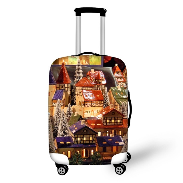 FORUDESIGNS New Style Christmas Travel Bag Cover Luggage Protective Dust Cover Apply to 18-28inch Luggage Elastic Suitcase Cover