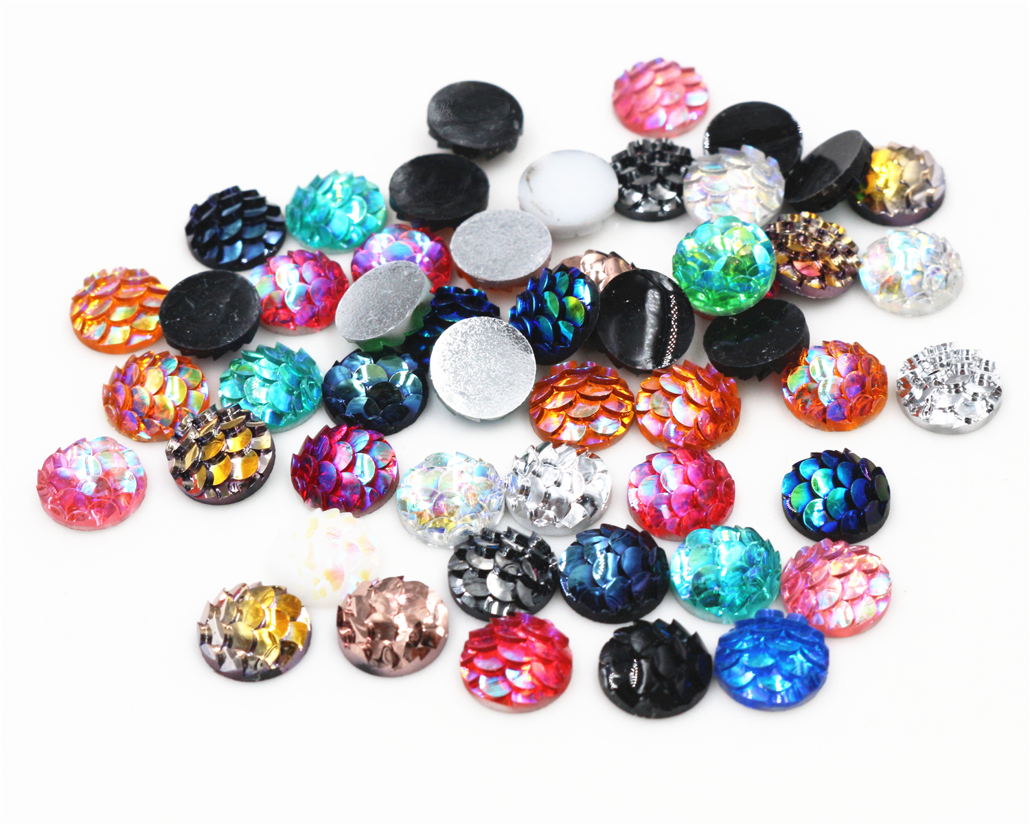 Mix-Colors Cameo Cabochons Fish-Scales-Style Flat-Back-Resin 40pcs/Lot 8mm New-Fashion