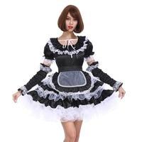 Sissy Girl Maid Cool Black Lockable Dress Puffy Crossdress Cosplay Costume