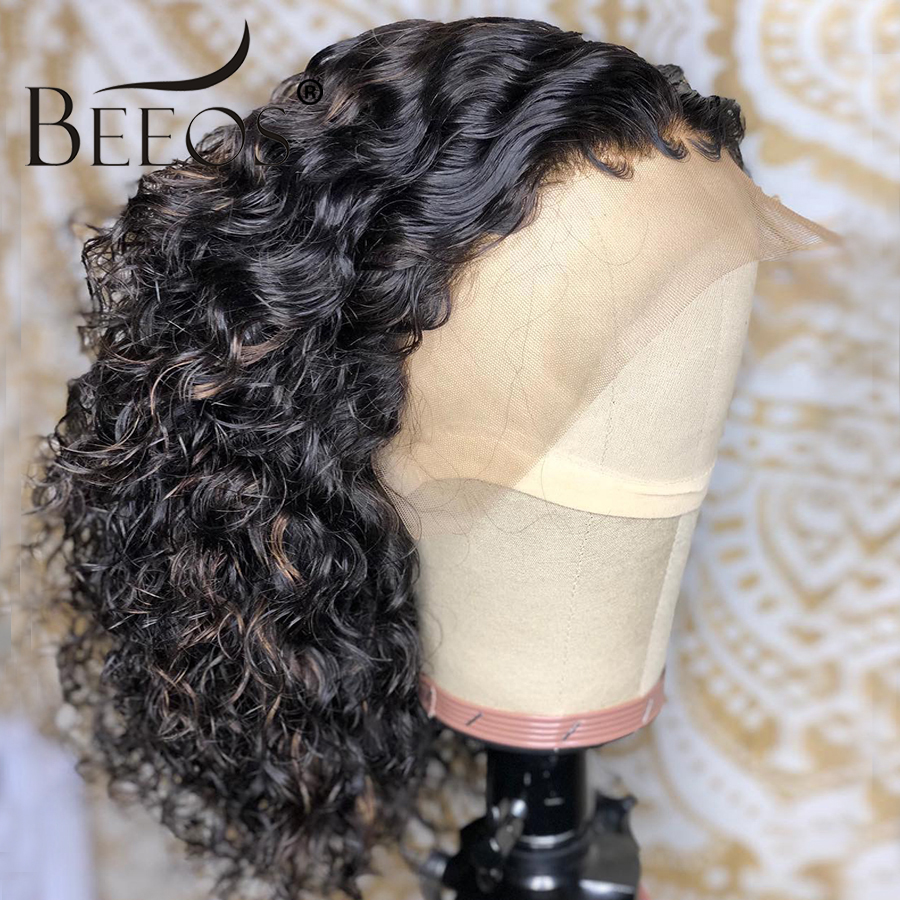 Beeos Brazilian Remy 13*6 Curly Lace Front Human Hair Wigs Short Bob Wig With Preplucked Hairline For Black Women Natural Black-in Human Hair Lace Wigs from Hair Extensions & Wigs    2