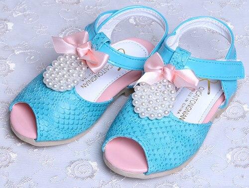 Обувь для девочек детские сандалии для девочек, украшенная бусинами и бантом, 21-25; девичьи туфли; 0904 sylvia 1239170562 - Цвет: Синий