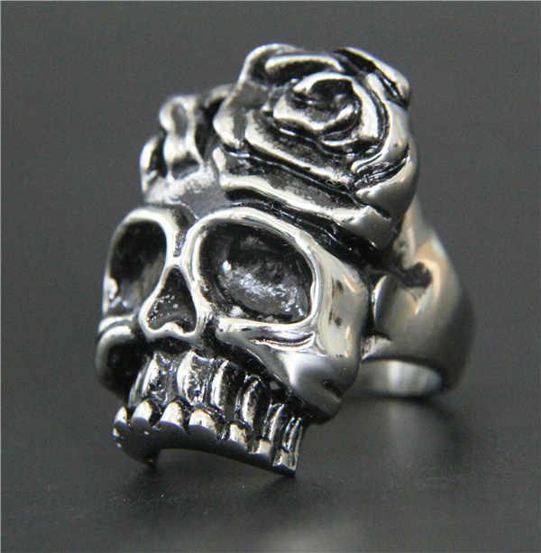 แฟชั่นใหม่ร้อนโรสกะโหลกแหวนสแตนเลส316Lบุรุษแหวนเย็นพรรคเงินผู้หญิงดอกไม้โครงกระดูกแหวน