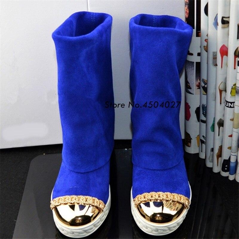 model 4 Ronda Señoras Las 3 model Media Cuña Oculta Zapatos Oro Venta Mujer Metal Talón Botines model Caliente 5 Model 1 2 Suede model Pantorrilla Botas Moda De w4gIBqO