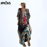 Aproms African Kaftan Dresses For Women Summer Ethnic Dashiki Dress Robe Traditional African Clothing Long Maxi