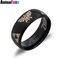 10PCS/LOT USA UK Canada Russia Brazil Hot Sales 8MM Black Silver Edges LEGEND Of ZELDA Men's Tungsten Carbide Wedding Ring