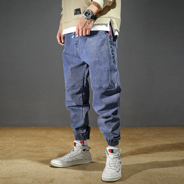 Men's Jeans Plus Size Stretchy Loose Tapered Harem Jeans Cotton Breathable Denim Jeans Baggy Jogger Casual Trousers 42 Jeans 1