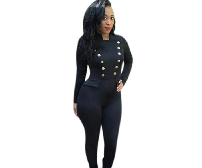 4de3494fd94 2018 Newest Women Double Breasted Button Long Sleeve Party Jumpsuits  Fashion Black Slim Long Pants Rompers Jumpsuits Clothing