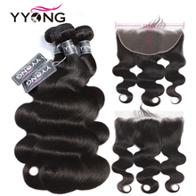 YYong Malaysian Body Wave 3 Bundles With Frontal 13x6 Ear To Lace Bundle Non Remy Human Hair Weave