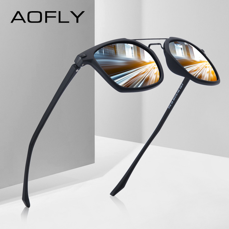 AOFLY BRAND DESIGN Classic Polarized Sunglasses Men Driving TR90 Frame Sunglasses Goggles UV400 Gafas Oculos De Sol AF8091 fashion rectangle frame gun metal leg outdoor driving sunglasses for men