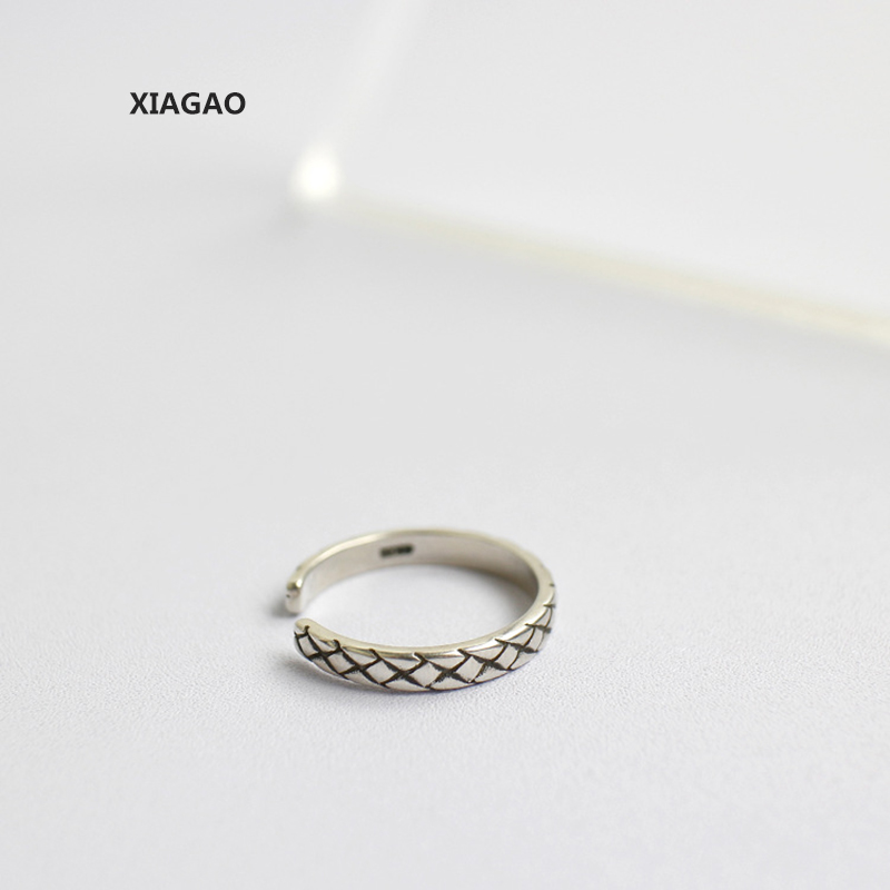 XIAGAO 925 Sterling Silver Ring Opening Retro Braided Vintage Punk Style Fashion Silver Jewelry For Girl CNR141
