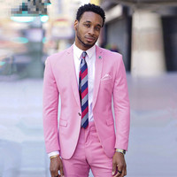 Hot Pink Tuxedo Mens Suits Groomsmen Peak Lapel Groom Tuxedos Men's Wedding Suits Best Man Dress Bridegroom Jacket+Pants