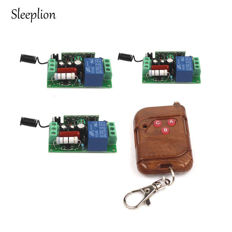 Sleeplion 10A 220V Relay Wireless RF Learning Receiver Remote Control Switch Board Module Kit Transmitter+3 Receive 315/433MHz dc12v rf wireless switch wireless remote control system1transmitter 6receiver10a 1ch toggle momentary latched learning code