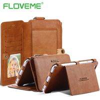 FLOVEME Vintage Leather Wallet Phone Case For IPhone 6 6S 7 Plus Luxury 2 In 1