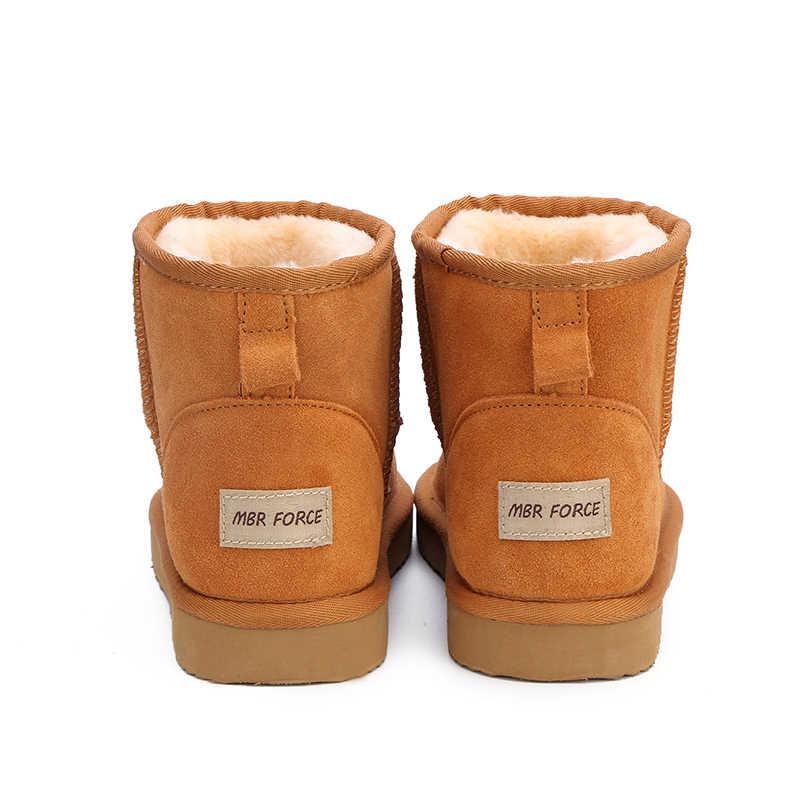 MBR FORCE ออสเตรเลียผู้หญิงหิมะรองเท้าบูท 100% ของแท้ Cowhide หนังข้อเท้ารองเท้าอุ่นฤดูหนาวรองเท้ารองเท้าผู้หญิงขนาดใหญ่ 34 -44
