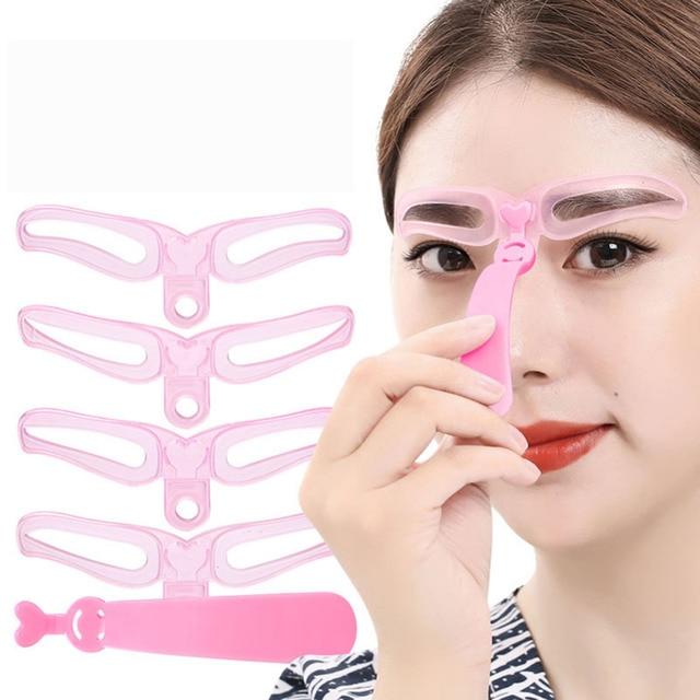 4 Pieces Reusable Eyebrow Model Template Eyebrow Shaper Defining Stencils Makeup Tools Balance Tattoo Stencil Template 1