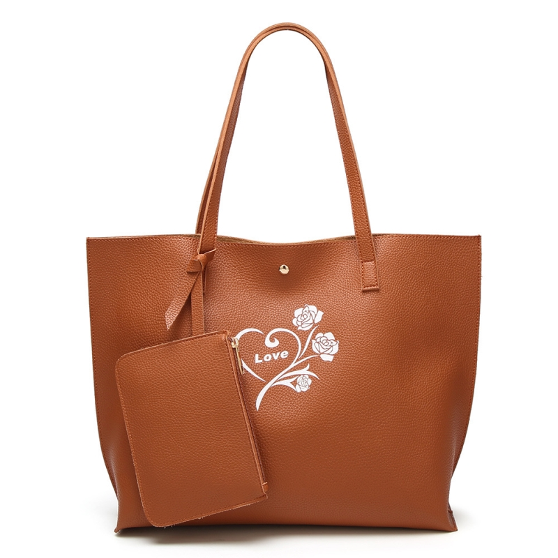 Appliques Flower And Letter Pu Leather Totes Large Capacity Casual Hasp Composite Bag Pure Color Soft Double Shoulder Bags