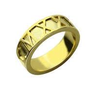 Atacado Anel Numerais Romanos Data Personalizado Presente de Aniversário Banda Numerais Romanos Anel de Casamento Cor de Ouro