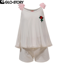 GLO-STORY Teens Kids Girls Summer Floral Suspenders Sets Girl Fashion Clothes 110-160 GLT-6164