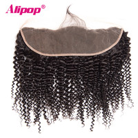 ALIPOP Brazilian Kinky Curly Lace Frontal Closure With Baby Hair Natural Hairline Remy Human Hair Pre Plucked No Tangle