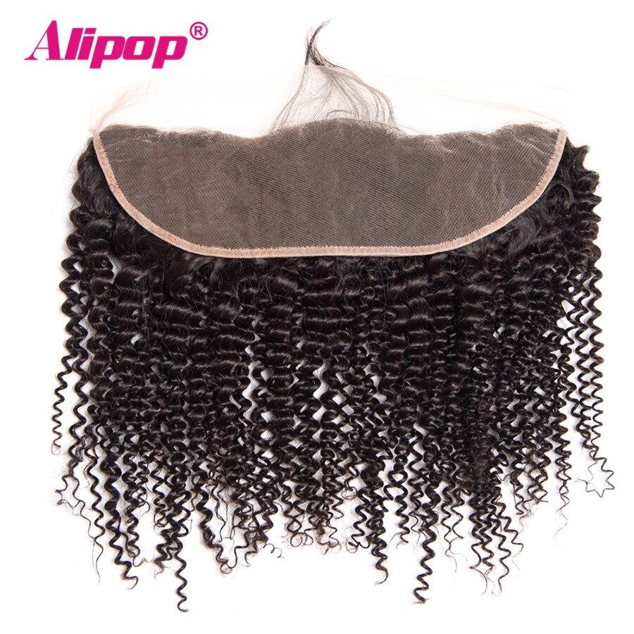 ALIPOP brésilien crépus bouclés dentelle fermeture frontale avec bébé cheveux naturel ligne de cheveux Remy cheveux humains pré plumé pas d'enchevêtrement