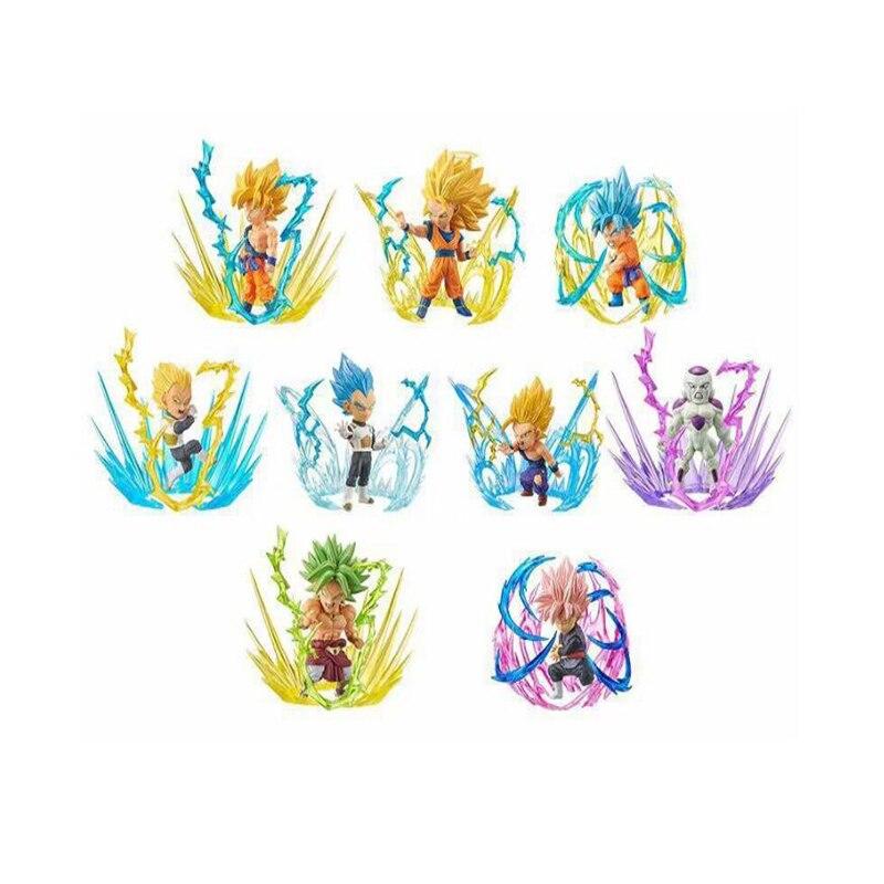 Super Saiyan Anime modèle figure Dragon Ball Super: Broly Son Goku 9 pièces/ensemble dessin animé enfants jouet ensemble cadeau figures