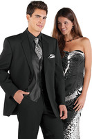 5 חתיכות (מעיל + מכנסיים + אפוד + עניבה + מטפחת) Notch דש שני כפתורים שחור מגניב נאה חליפות גברים באיכות גבוהה חמה למכירה BZespoke