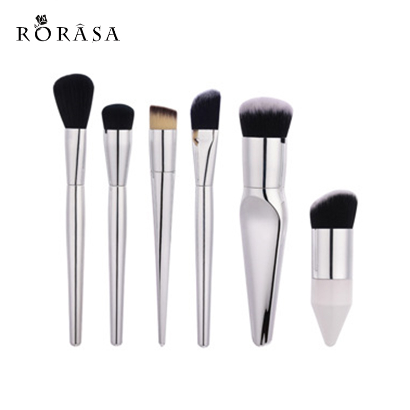 6Pc Professional silver Makeup Brushes Set Maquiagem Contour Foundation Powder Blush Unicorn Brush Cosmetic Make up Brushes tool 8pcs rose gold makeup brushes eye shadow powder blush foundation brush 2pc sponge puff make up brushes pincel maquiagem cosmetic