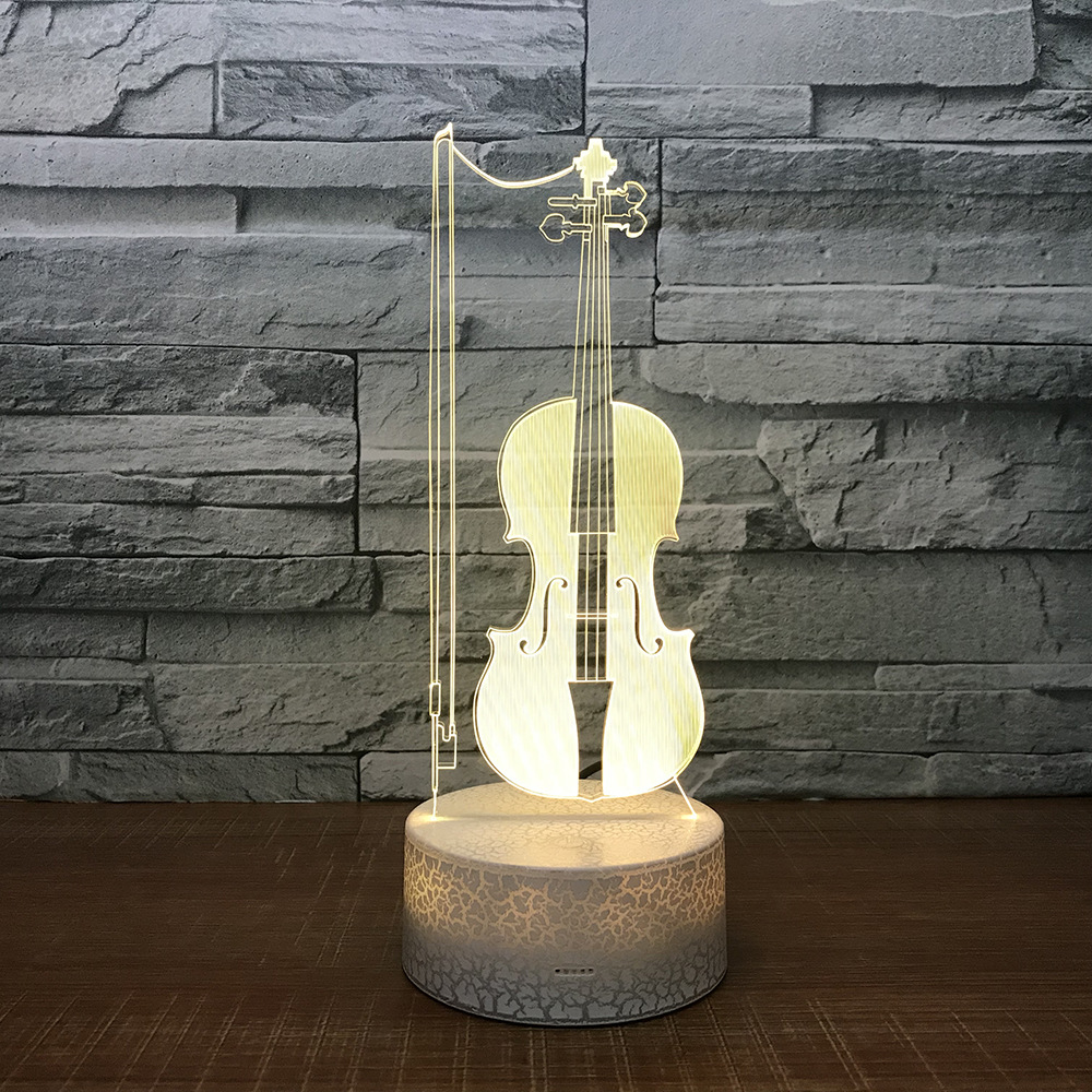 Musical Iinstrument Guitar Violin Piano 3d Stereo Led Lights Creative Night Light Acrylic Action Figure Toy Christmas Gift P1185 Toys & Hobbies