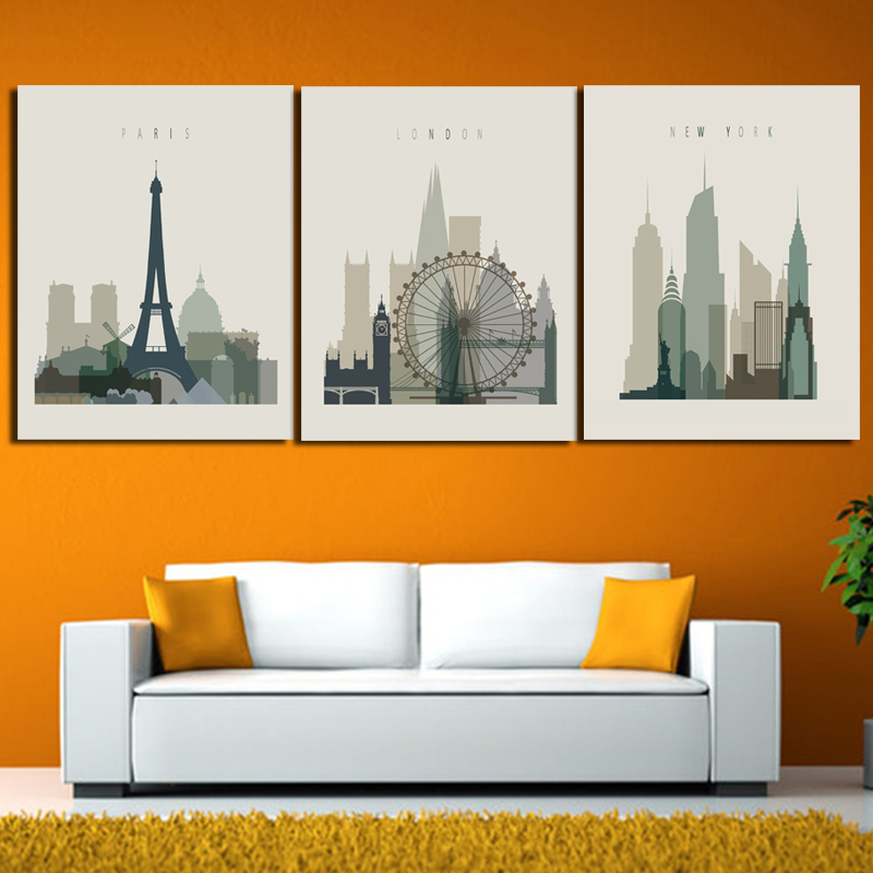 New York City Picture Canvas Painting Modern Wall Art: 3 Panel London Paris New York Cartoon Modern City Oil