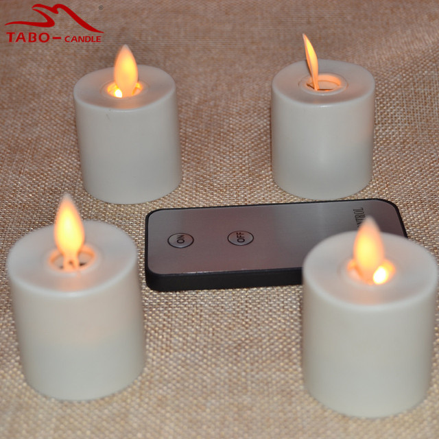 Moving Flame Amber Yellow Light Rechargeable LED Tea Light Candles With  Timer For Home Bedroom Bar