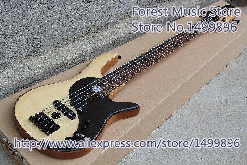 Nueva llegada negro Hardwares Fodera Yin Yang estándar 5 cuerdas bajo eléctrico guitarras para la venta