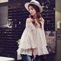 dabuwawa 2017 white shirt flare sleeved sexy off the shoulder fashion casual blouse women pink doll