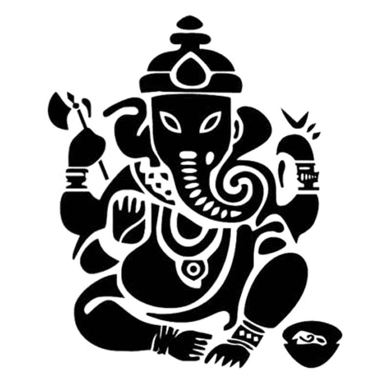12.9cm*15.4cm Elephant Buddha India Fashion Car-Styling Decor Stickers Decals Black/Silver S3-6998