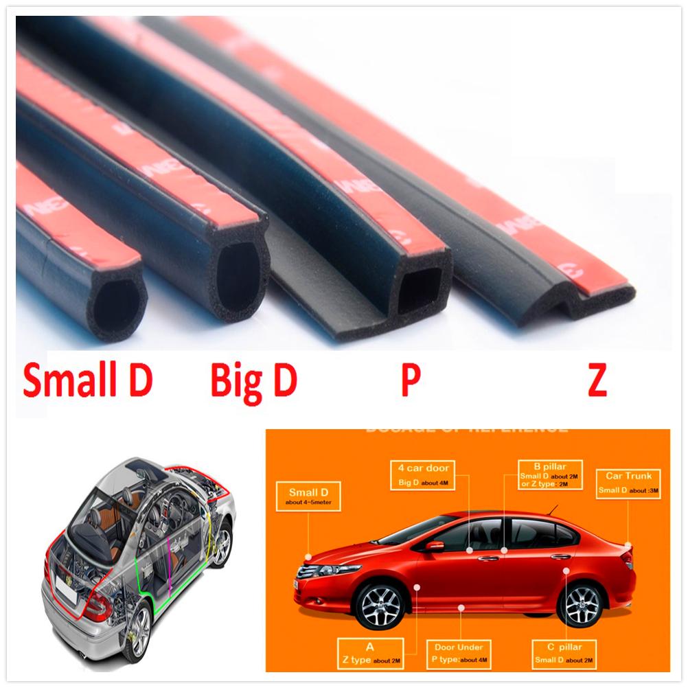 D Z P B Type Car Rubber Door Sealing Strip for Porsche 918 Cayman <font><b>Boxster</b></font> 919 <font><b>718</b></font> GT3 Macan Cayenne 911 Panamera Mission image