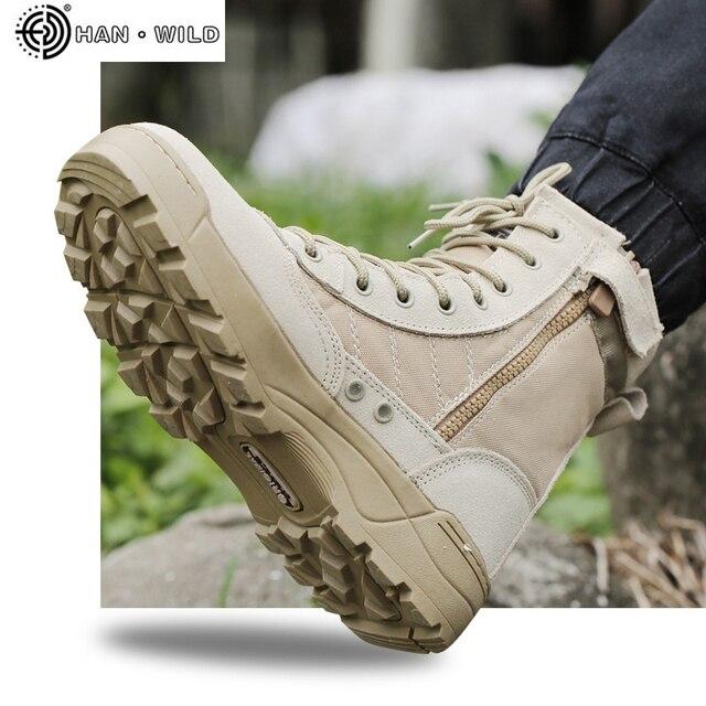 Erkekler Taktik Askeri asker botu Nefes Deri Örgü Yüksek Üst Rahat Çöl iş ayakkabısı Erkek SWAT Ayak Bileği Savaş Boot