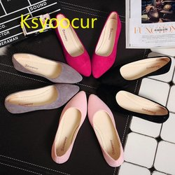Ksyoocur New Women Suede Flats Fashion High Quality Basic Mixed Colors Pointy Toe Ballerina Ballet Flat Slip On Shoes j001